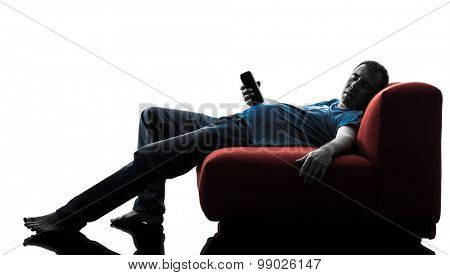 one caucasian man sofa couch drunk sleeping   in silhouette isolated on white background