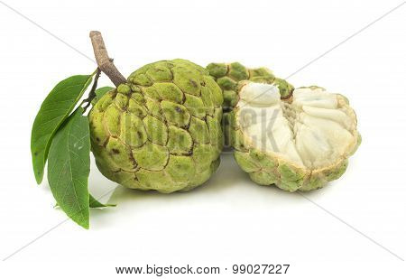 Fresh Custard Apples Fruit On White
