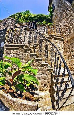 Stairs in the old town. Kotor. Montenegro