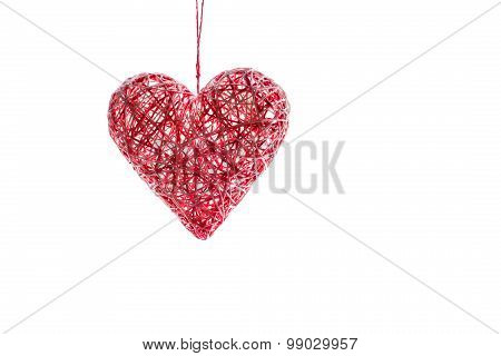 Handmade Heart From Threads For Valentine's Day. Isolated.