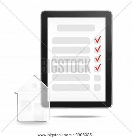 Abstract tablet with checking off tasks and house
