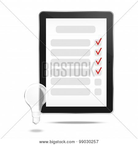 Abstract tablet with checking off tasks and lamp