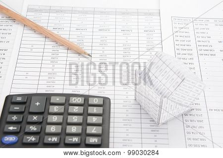 Pencil On Finance Account Have Blur Bankruptcy House And Calculator