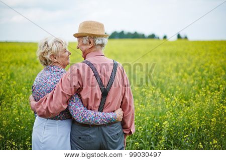 Affectionate senior couple enjoying summer day in meadow