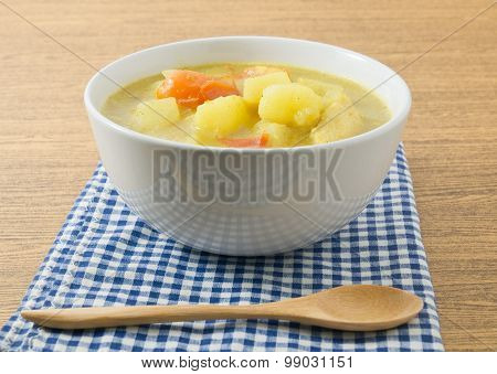 Japanese Curry Soup With Potato And Tomato