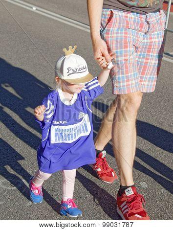 Cute Young Blonde Girl Running