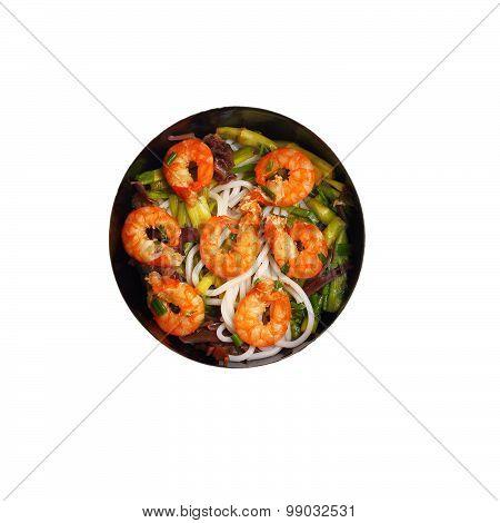 Isolated Vietnamese Shrimp Pho Soup