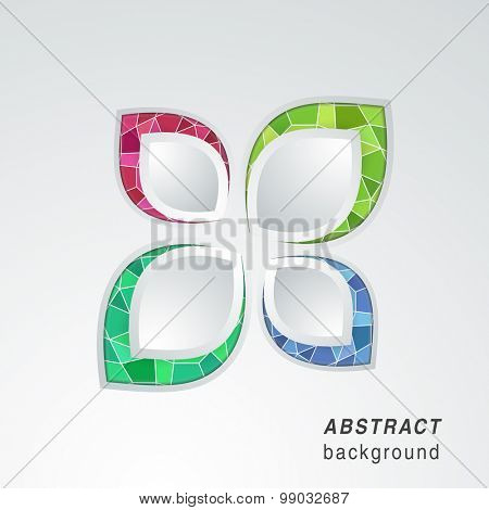 Colorful abstract pattern in leaf shape on shiny grey background.