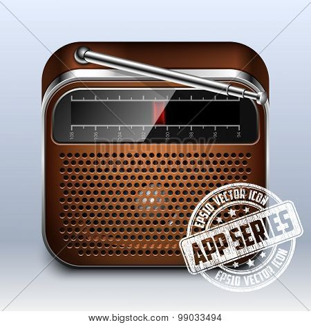 Retro Radio Icon. App Series