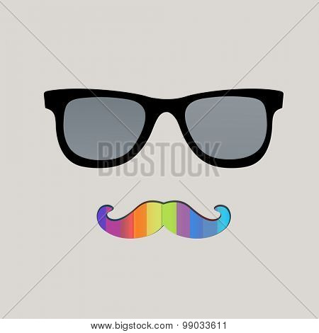 Gay pride male mustache