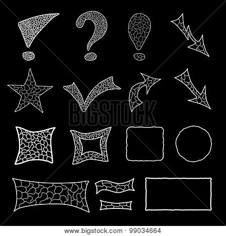Set of mosaic doodle elements
