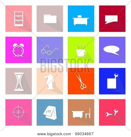 Collection Of 16 Office Item Icons Banner
