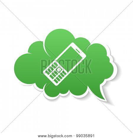 Green Phone speech Bubble Icon. Vector color Illustration