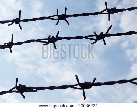 Three Barbed Wire Silhouette With Blue Sky Background.