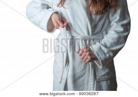 Woman in bath robe
