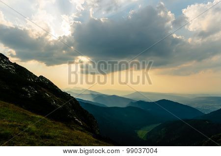 Inspiring Mountains Landscape, Summer Sunset In Tatras