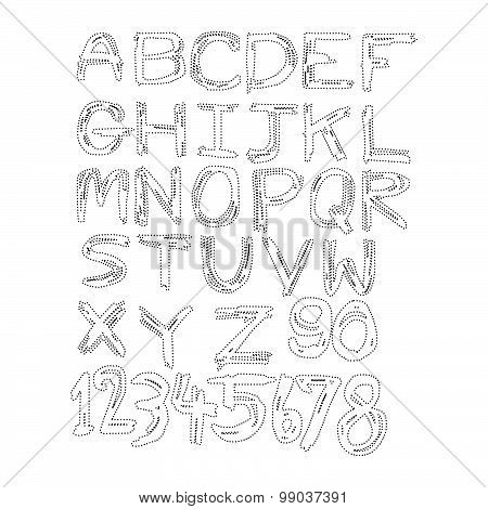 Vector Illustration Black Polka Dot Spotted Alphabet Uppercase Letters And Numbers