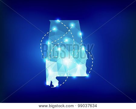 Alabama State Map Polygonal With Spot Lights Places