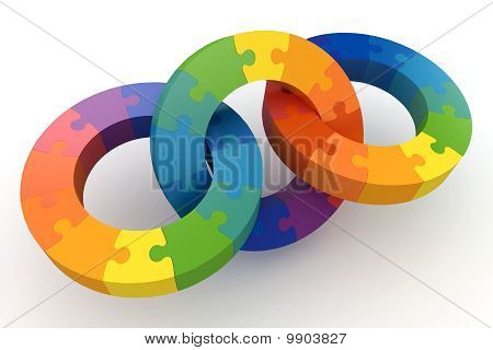 3D Puzzle Color Wheels
