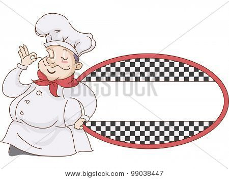 Retro Illustration of a Chef Playing with His Moustache against Blank Sign