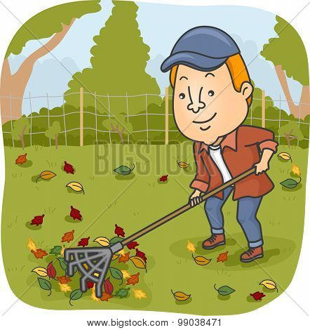 Illustration of a Man Raking the Leaves on His Garden