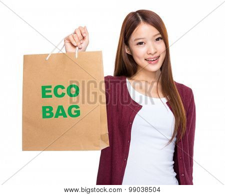 Asian woman take shopping bag and showing eco bag