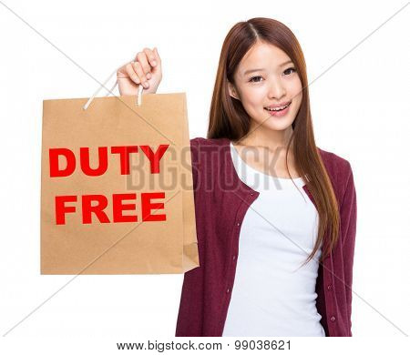 Asian woman take shopping bag and showing duty free