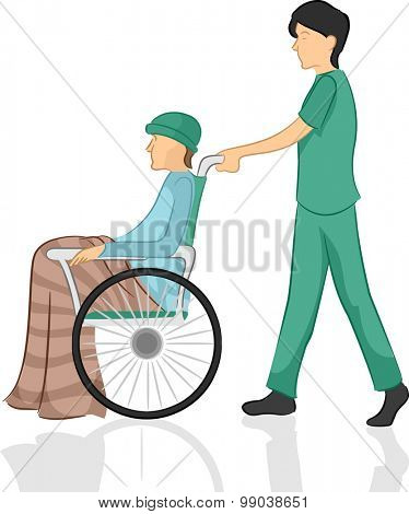 Illustration of a Male Nurse Pushing His Patient's Wheelchair
