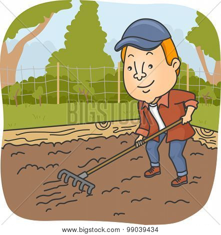 Illustration of a Man Raking the Soil on His Garden