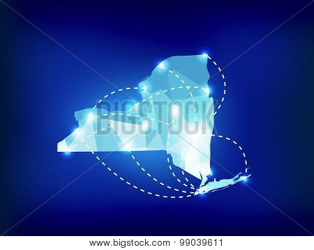 New York State Map Polygonal With Spot Lights Places