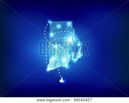 Rhode Island State Map Polygonal With Spot Lights Places