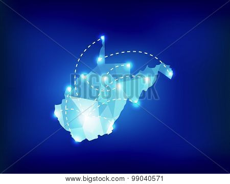 West Virginia State Map Polygonal With Spot Lights Places