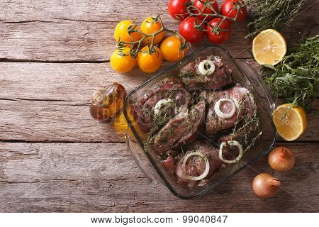 Marinated Meat With Onions And Herbs. Horizontal Top View
