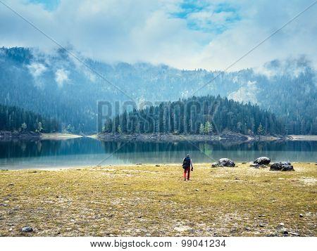 Deep blue lake near the mountains