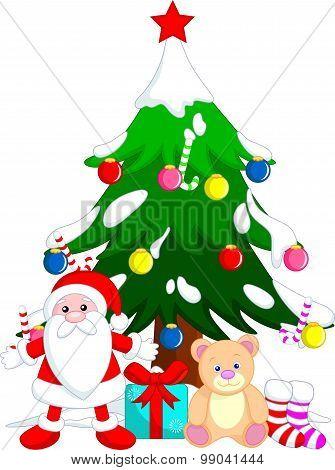 christmas tree and santa gift