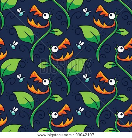 Halloween Carnivorous Plant Seamless Pattern