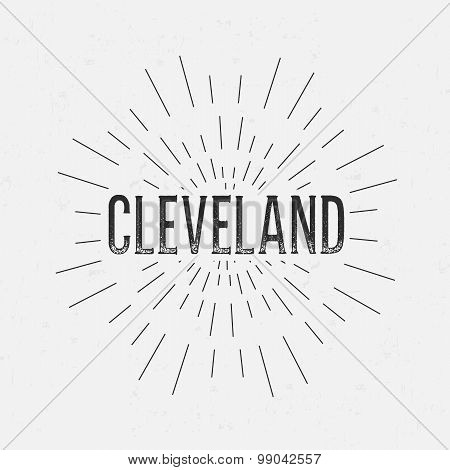 Abstract Creative concept vector design layout with text - Cleveland. For web and mobile icon isolat