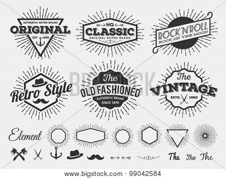 Monochrome Vintage Logo, Badge, Label For T-shirt Screen And Printing With Starburst, Arrow, Scissor