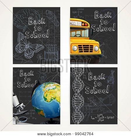 Back To School Black Banners Set With Doodles, Yellow School Bus