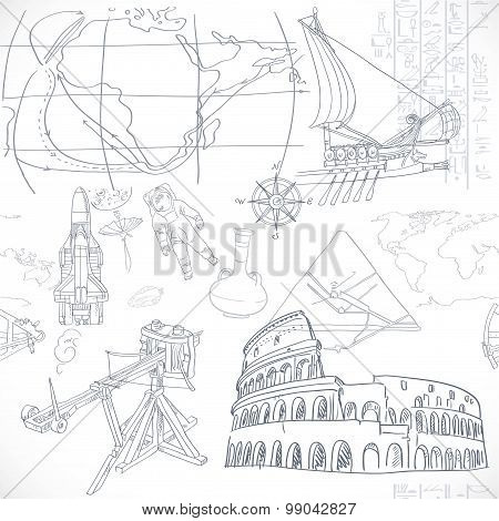 Seamless Pattern Of The Doodles Historic Events Isolated On Whit