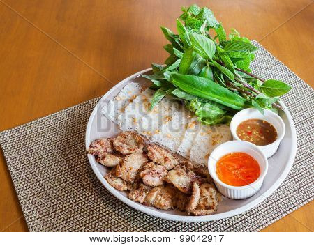 Vietnamese Roasted Pork With Vermicelli (in Vietnamese: Banh Hoi Thit Quay)
