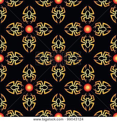 Halloween Spiders Seamless Pattern