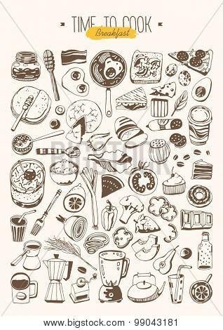 Hand drawn set - Breakfast