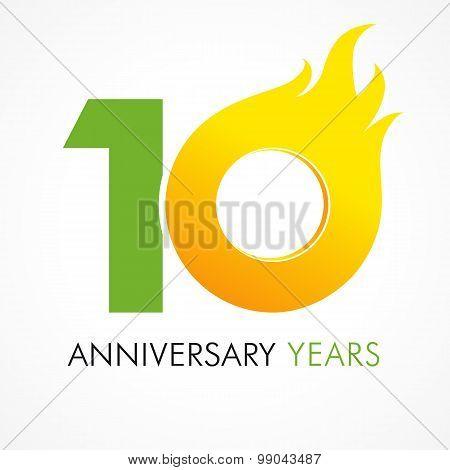 10 anniversary flame logo