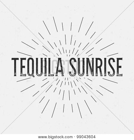 Abstract Creative concept vector design layout with text - tequila sunrise. For web and mobile icon
