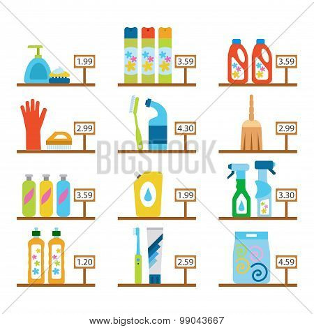 Vector Hygiene And Cleaning Products Flat Icons. Cleaner And Toilet Paper, Toothpaste And Deodorant