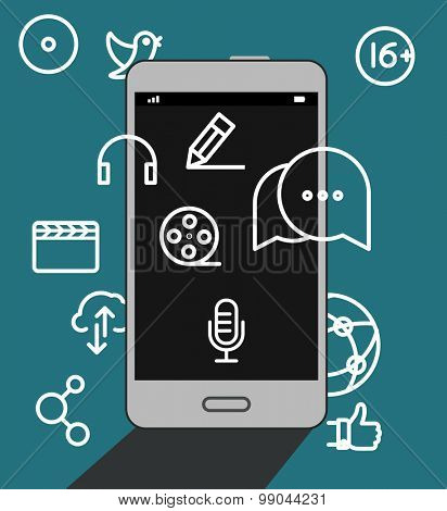 Modern smartphone with media icons illustration. Flat design concept