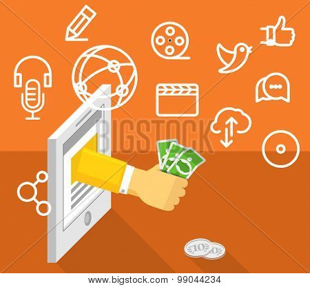 Modern technology business. Social media concept