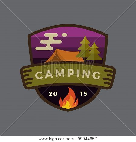Modern Vintage Camping Outdoor Adventure Badge Logo Design.