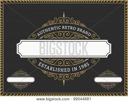 Vintage Badge And Labels Brand Name, Design For Banner, Invitation, Logo, Emblem, Food Menu, Sticker
